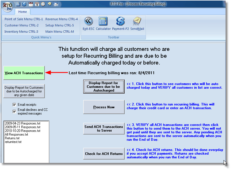 RTO Pro Help File - ACH View Transactions