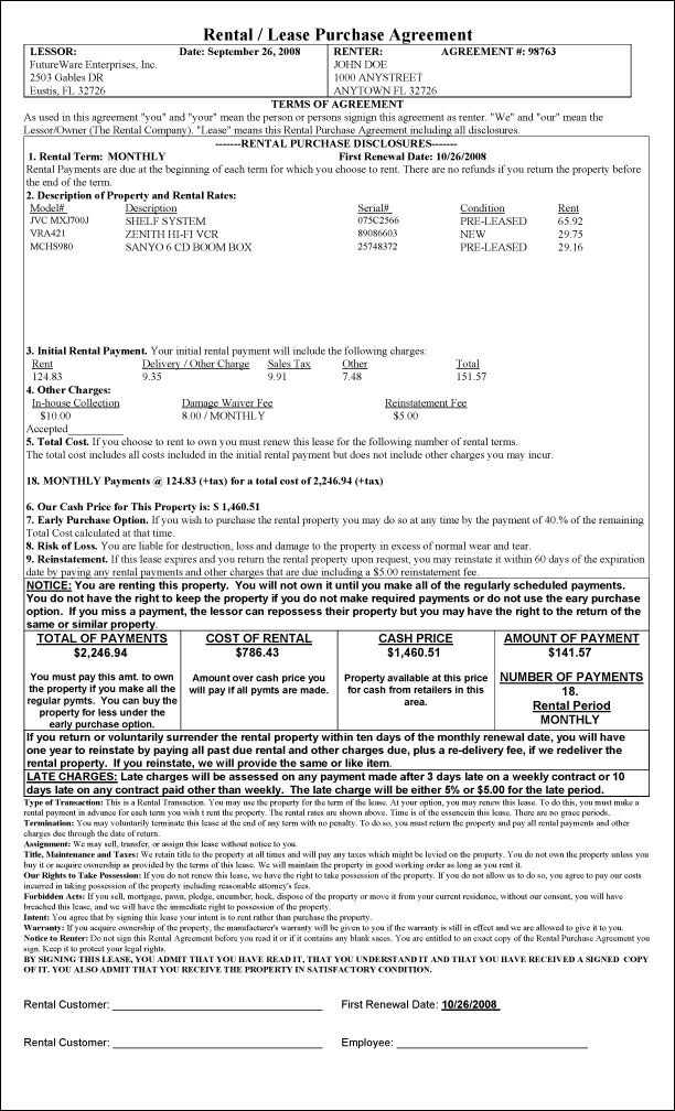 rent to buy agreement template - sample printout california rent to own agreement