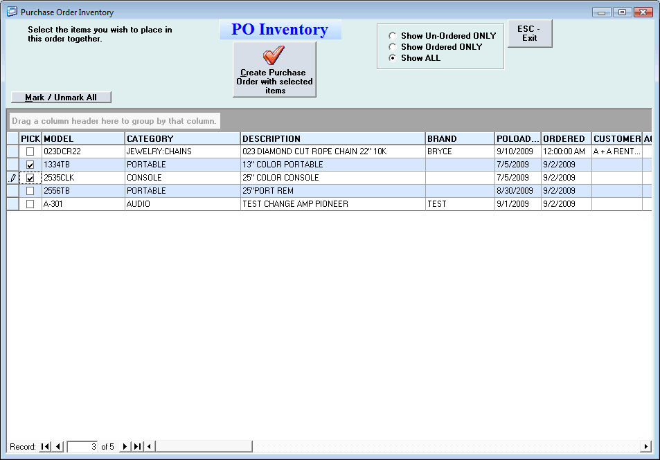 Rto Pro Help File  Purchase Order Inventory