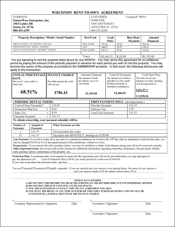 Rto Pro Help File - Sample Printout: Wisconsin Rent To Own Agreement
